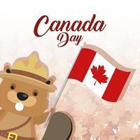 banner di celebrazione felice giorno del canada con castoro