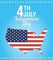 bandiera di celebrazione del giorno dell'indipendenza degli Stati Uniti con mappa vettore