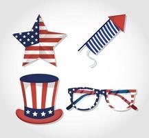 set di icone di celebrazione del giorno dell'indipendenza degli Stati Uniti
