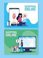 set di banner per lo shopping online ed e-commerce vettore