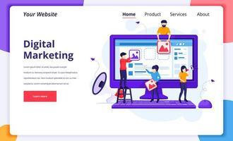 concetto di marketing digitale, lavoratori che caricano immagini per promuovere prodotti vettore
