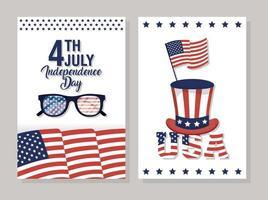 set di banner per la celebrazione del giorno dell'indipendenza degli Stati Uniti