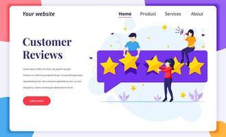 pagina di destinazione delle recensioni dei clienti con stelle d'oro vettore