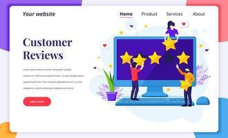concetto di design della pagina di destinazione del concetto di recensioni dei clienti, persone che danno valutazione e recensione a cinque stelle, feedback positivo. servizio clienti ed esperienza utente. illustrazione vettoriale piatta
