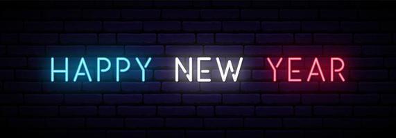 insegna al neon di felice anno nuovo. vettore