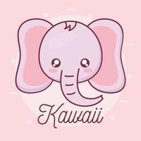 disegno del fumetto animale elefante kawaii vettore