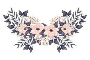 fiori rosa chiaro con pittura di boccioli e foglie vettore