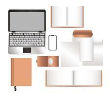 mockup laptop smartphone e set di identità aziendale