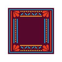 tappeto messicano con cornice quadrata vettore