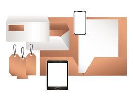 tablet mockup con design di file e buste per smartphone vettore