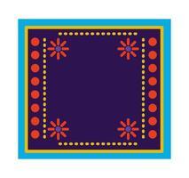 tappeto messicano con cornice floreale vettore