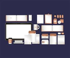 set design mockup di computer e branding