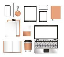 mockup laptop tablet smartphone e set di identità aziendale