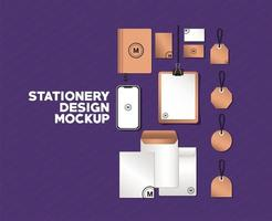 smartphone e mockup di branding set disegno vettoriale