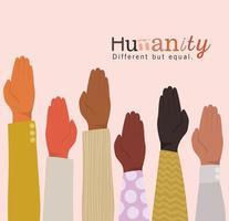 umanità diversa ma uguale e diversità mani aperte