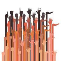 mani in alto un gruppo di diversi tipi di pelli