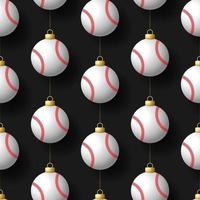 Natale appeso ornamenti da baseball seamless pattern