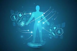 diagramma del corpo umano su sfondo di scienza high tech