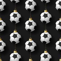 Natale appeso a calcio o pallone da calcio ornamenti seamless pattern