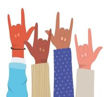 segno di roccia con le mani di diversi tipi di pelli