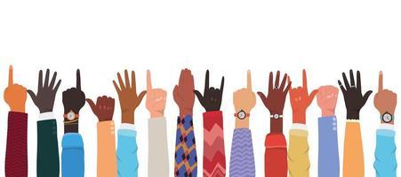 mani in alto di diversi tipi di design di pelli