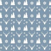 Reticolo senza giunte di Natale con cervi, fiocchi di neve e alberi