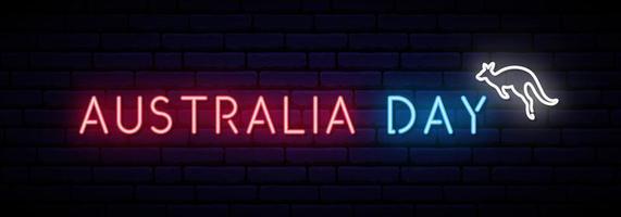 iscrizione al neon e canguro di australia day. vettore