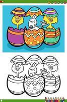 Personaggi delle vacanze di Pasqua da colorare pagina del libro vettore