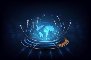 sfondo di trasferimento di denaro globale ad alta tecnologia vettore
