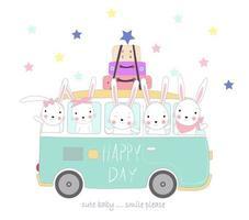 simpatici conigli viaggiano in vacanza