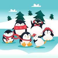 scena invernale del gruppo del pinguino di vacanza del fumetto super carino