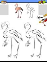 disegno e colorare foglio di lavoro con uccello fenicottero vettore