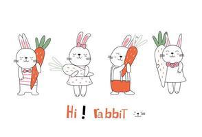 conigli di bambino postura carina disegnata a mano con carote