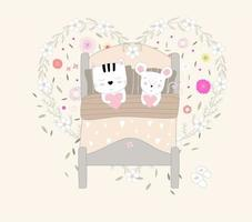 simpatico gatto e topo a letto