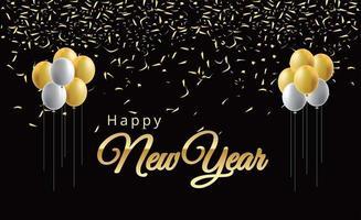 felice anno nuovo palloncini e numeri in metallo dorato vettore