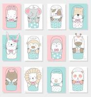 simpatici animaletti disegnati a mano in carte di secchi