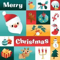 divertente cartone animato decorazione di Natale vacanza mosaico