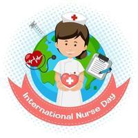 logo della giornata internazionale dell'infermiera con infermiera carina sullo sfondo del globo