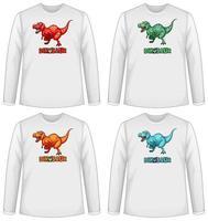 set di diversi schermi di dinosauro di colore su t-shirt a maniche lunghe