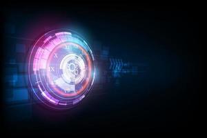 fondo futuristico astratto di tecnologia con il concetto dell'orologio e la macchina del tempo, vettore trasparente