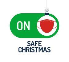 concetto di Natale sicuro con interruttore modalità sicura maschera facciale