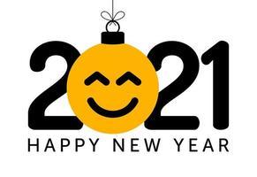 Saluto del nuovo anno 2021 con l'ornamento del viso sorridente di emoji