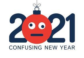 Saluto di capodanno 2021 con ornamento viso emoji confuso