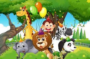 animali selvatici con tema di festa sullo sfondo della foresta di natura