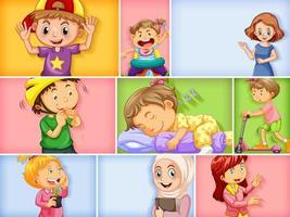 set di diversi personaggi per bambini su sfondo di colore diverso vettore