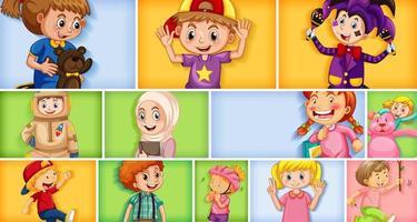 set di diversi personaggi per bambini su sfondo di colore diverso