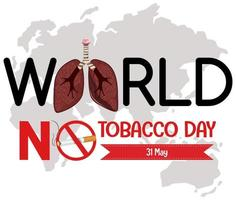 logo della giornata mondiale senza tabacco con cartello rosso vietato fumare vettore