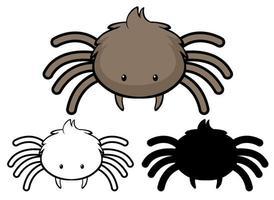 set di cartone animato ragno vettore