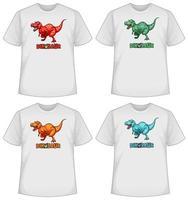 set di schermo di dinosauro di colore diverso su t-shirt