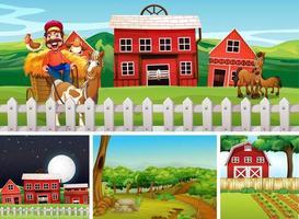 set di diverse scene di fattoria con stile cartone animato fattoria degli animali vettore